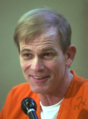 Paul Hill speaks during a news conference at the Florida State Prison in Starke, Fla., Tuesday, Sept. 2, 2003. Hill is scheduled to be executed Wednesday for the slayings of Dr. John Britton and his escort James Barrett outside an abortion clinic in Pensacola, Fla., in 1994. (AP Photo/Peter Cosgrove)